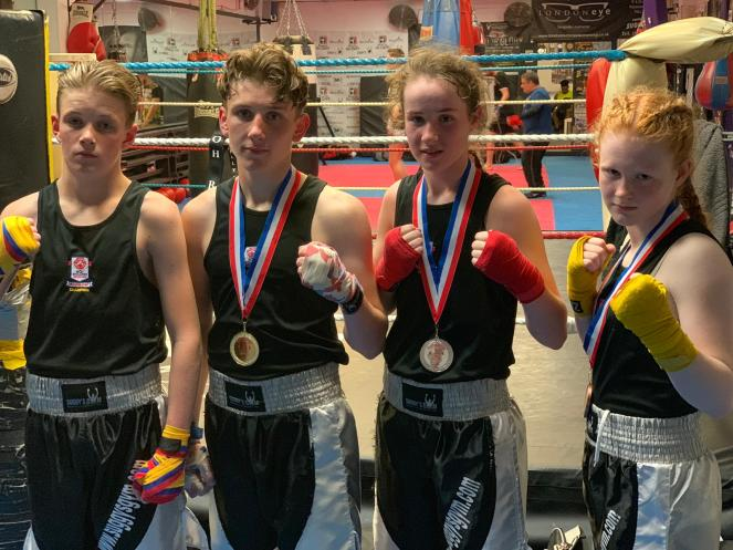Back at the gym - Midlands Vest winner Alfie Briggs-Price with Sam, Chloe and Lauren